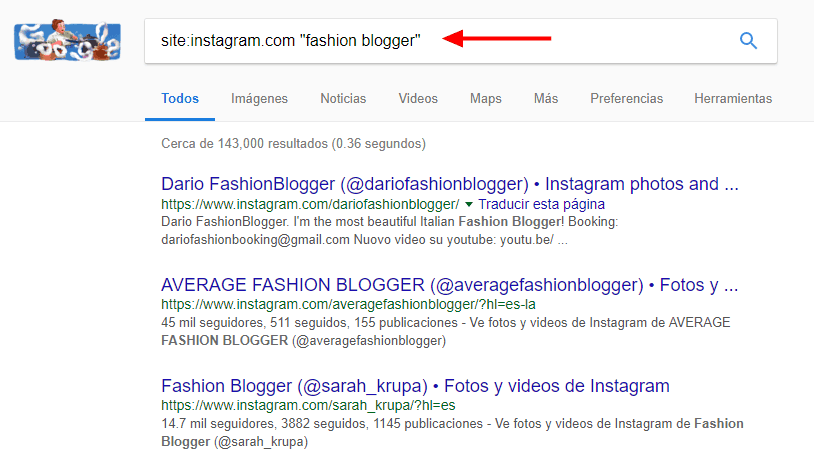 Cómo encontrar influencers en Instagram utilizando Google